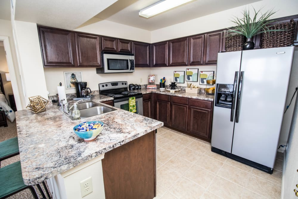 Stainless appliances at Tuscany Place in Lubbock, Texas.