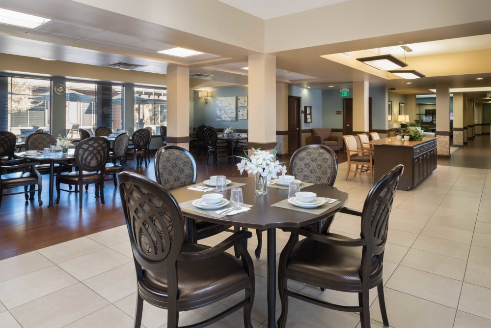 Dining room at Avenir Memory Care at Scottsdale in Scottsdale, Arizona.