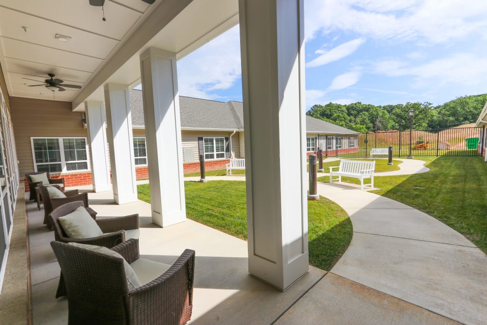A view of the courtyard at The Harmony Collection at Roanoke - Memory Care in Roanoke, Virginia