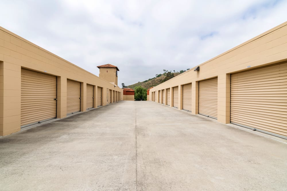 Wide drive aisles at North County Self Storage
