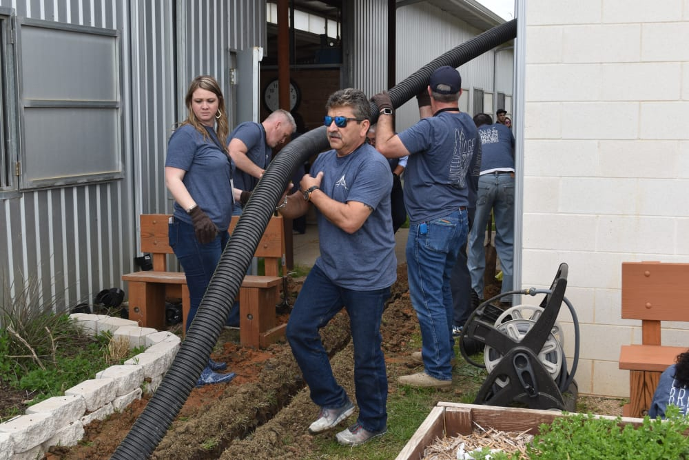 Coworkers working together at CWS Apartment Homes in Austin, Texas