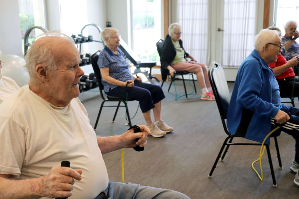 Residents in an exercise program at The Springs at Clackamas Woods in Milwaukie, Oregon.