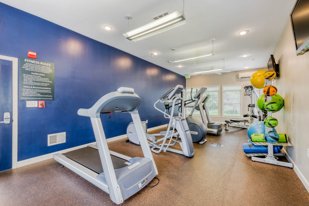 Fitness Center with aerobic equipment at Park at Winterset Apartments in Owings Mills, Maryland