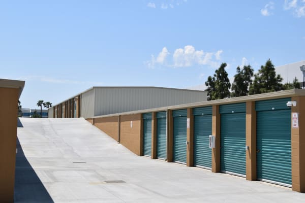 Exterior of outdoor storage units at Chino Self Storage in Chino, California