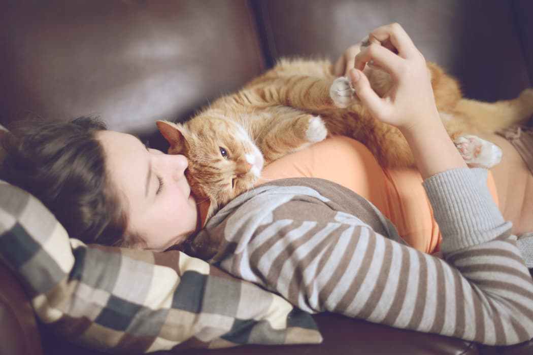 Resident hugging her lovely cat at The Village of Meadowview in Boone, NC