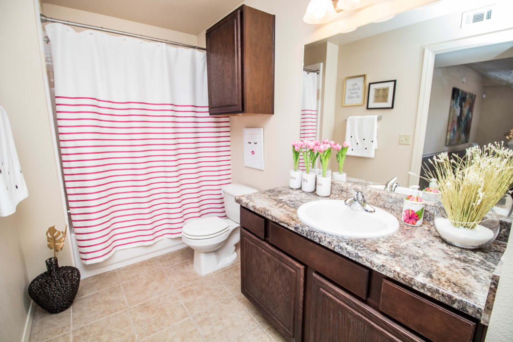Bright bathroom at Tuscany Place in Lubbock, Texas