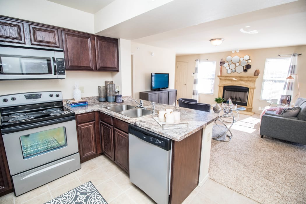 Stainless steel appliances at Tuscany Place in Lubbock, Texas