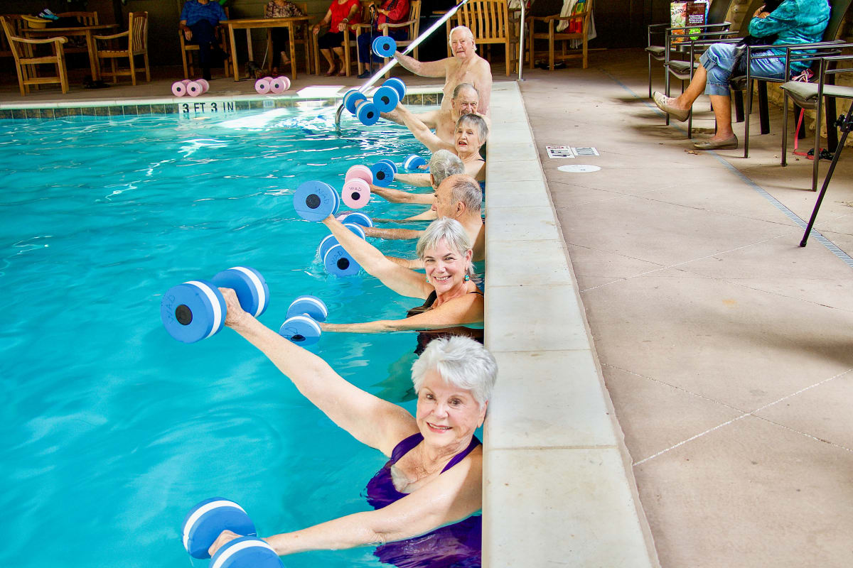Water aerobics at Landing at Watercrest Shadow Creek Ranch in Pearland, Texas