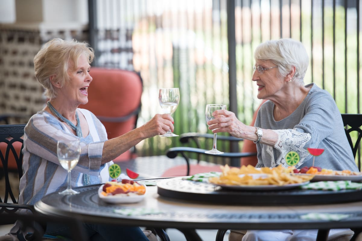 Residents out to eat near The Claiborne at Brickyard Crossing in Summerville, South Carolina.