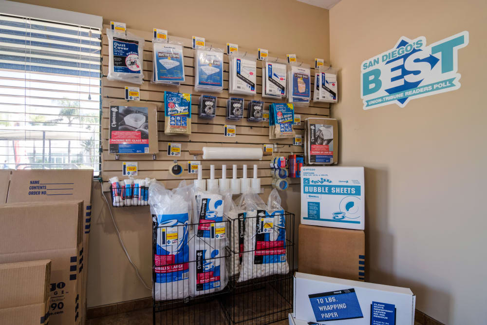 Moving and packaging supplies for sale at Sorrento Mesa Self Storage.