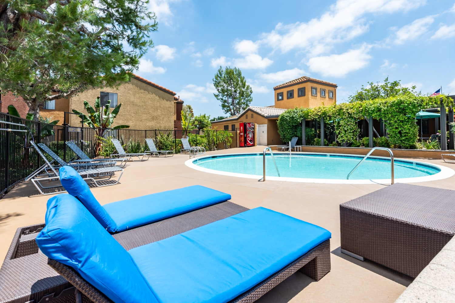 Community pool and spa at The Villas at Rowland Heights in Rowland Heights, California