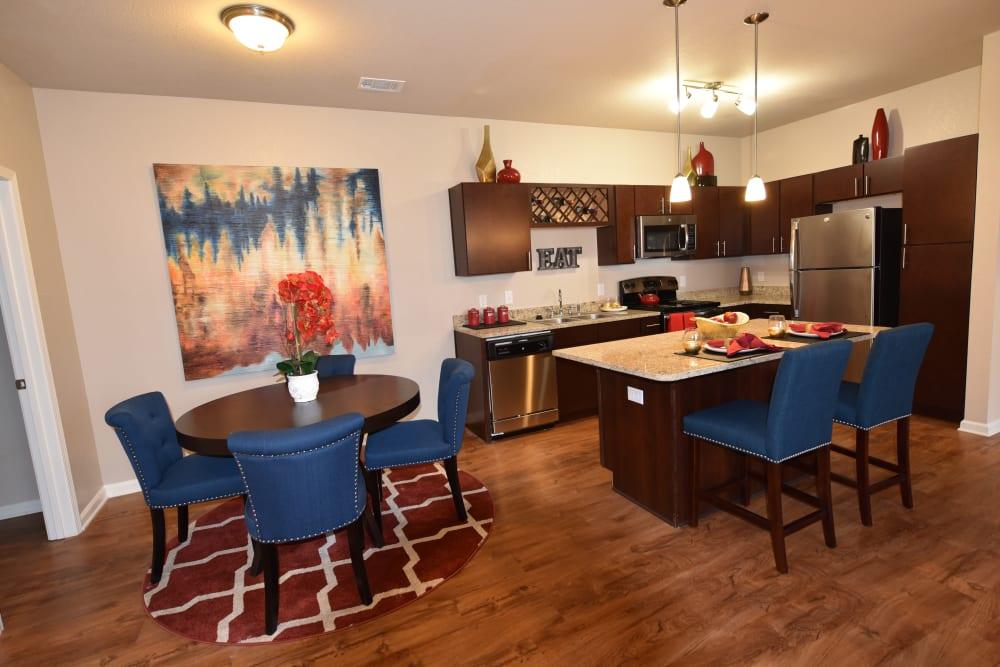Kitchen and dining room at Springs at Liberty Township Apartments in Liberty Township