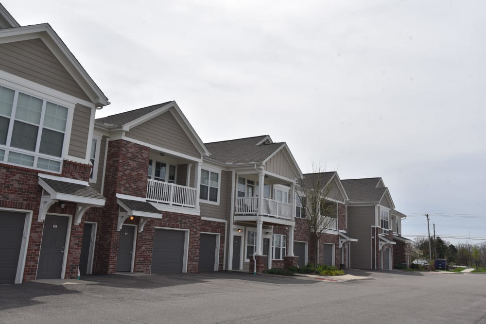 Attached garages at Springs at Liberty Township Apartments in Liberty Township