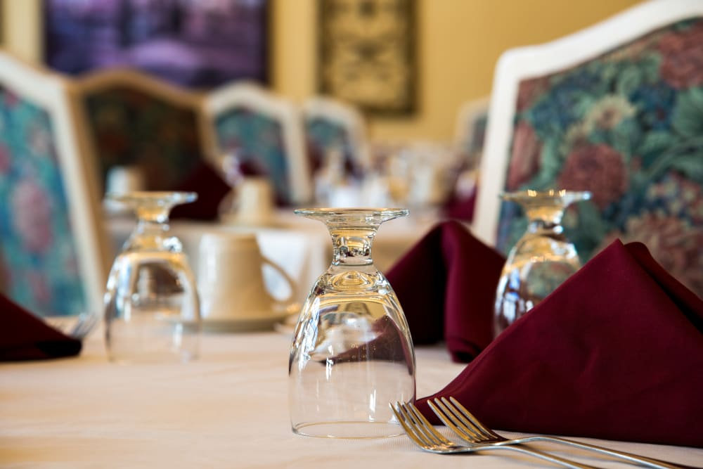 A well decorated dining room table at Touchmark at Harwood Groves in Fargo, North Dakota