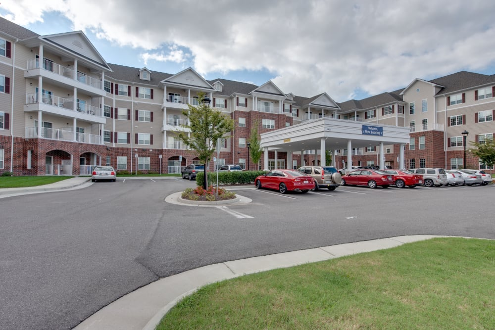 The building facade of Harmony at Harbour View in Suffolk, Virginia
