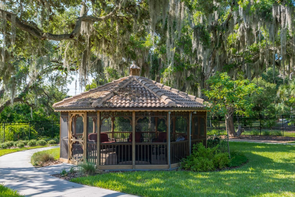 Shaded gazebo at Inspired Living at Lewisville in Lewisville, Texas.