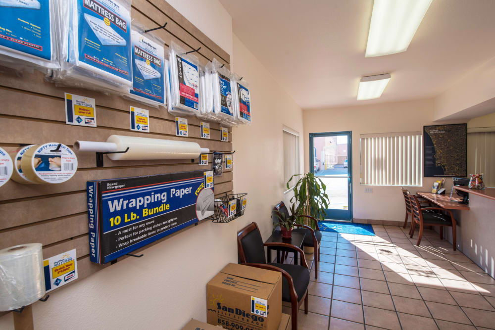 Packing and moving supplies for sale at Otay Mesa Self Storage
