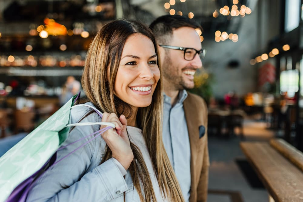 Couple shopping together near Rutgers Court Apartments in Belleville, New Jersey
