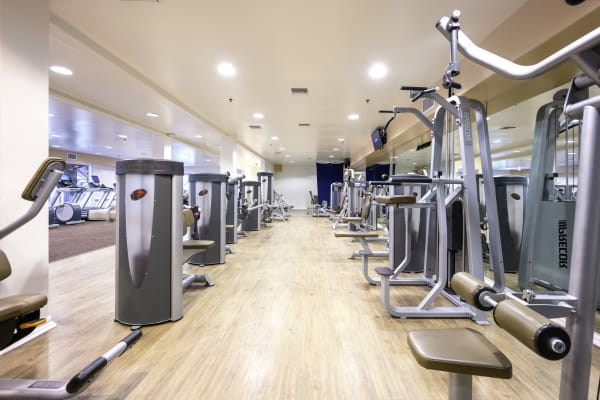 Well-equipped onsite fitness studio at Mariners Village in Marina del Rey, California