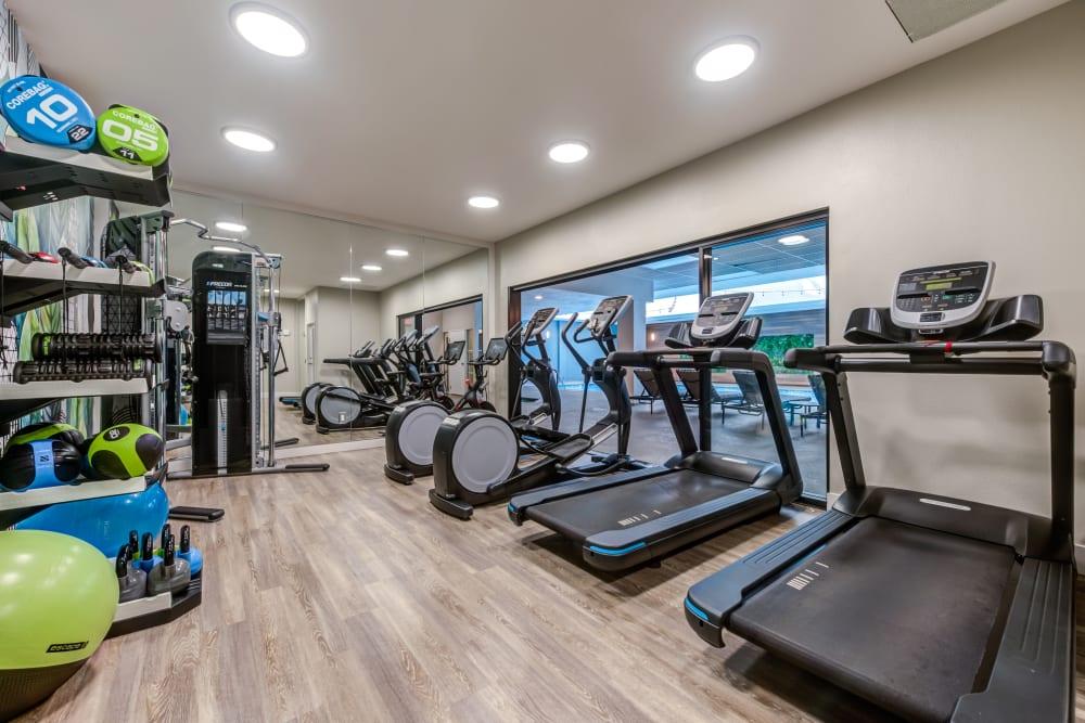 Plenty of cardio machines in the fitness center at Vue Los Feliz in Los Angeles, California