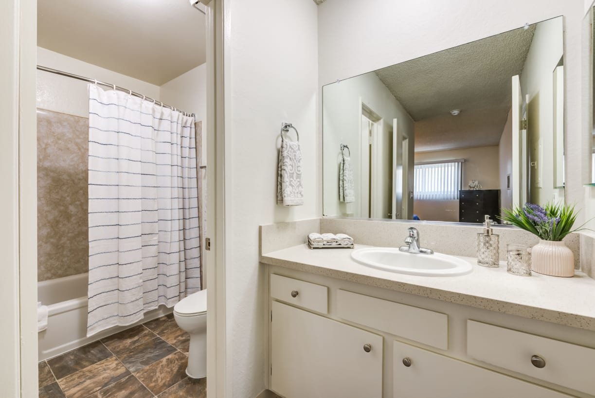 Bright and modern bathroom at The Newporter in Tarzana, California