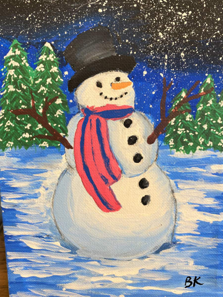 A snowman painting
