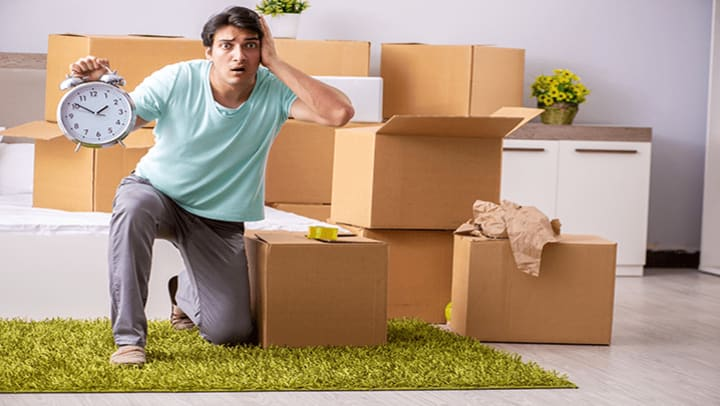 man confused about how to pack items for long-term storage