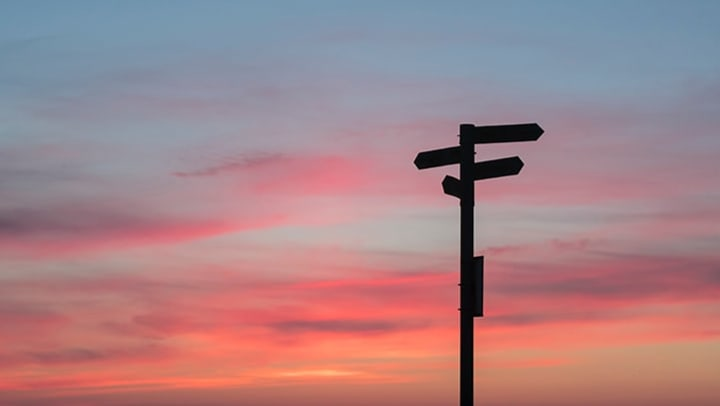 signposts in front of a beautiful sunset