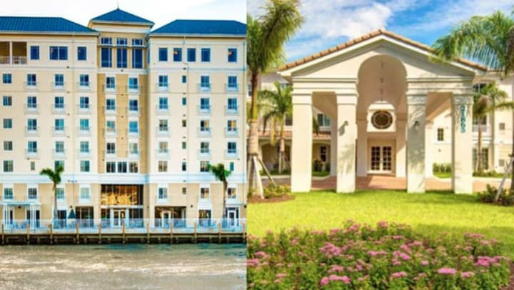 Exterior photos of The Meridian at Waterways and The Meridian at Boca Raton