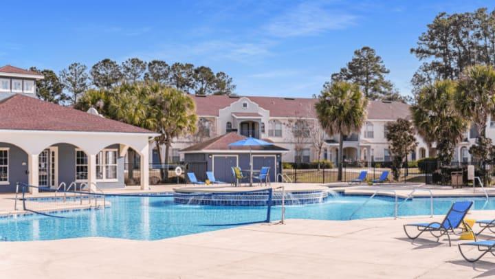Pool Deck Area at Blanton Common Student Apartments in Valdosta, GA