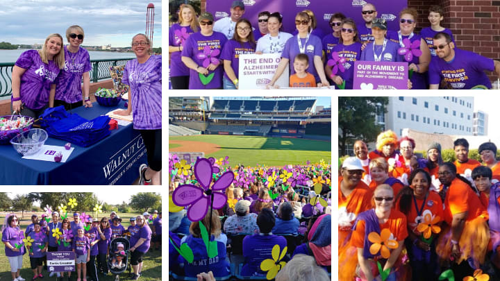 jea senior living walk to end alzheimer's teams fundraising and showing support of the 2019 Walk to End Alzheimer's