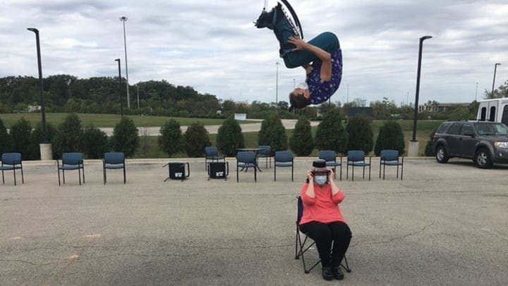 Circus performer bounces over resident of Harvester Place