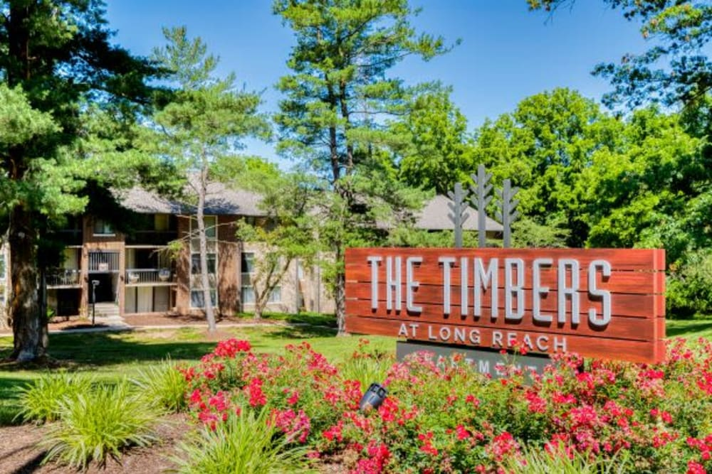 Monument Sign at The Timbers at Long Reach Apartments in Columbia , Maryland