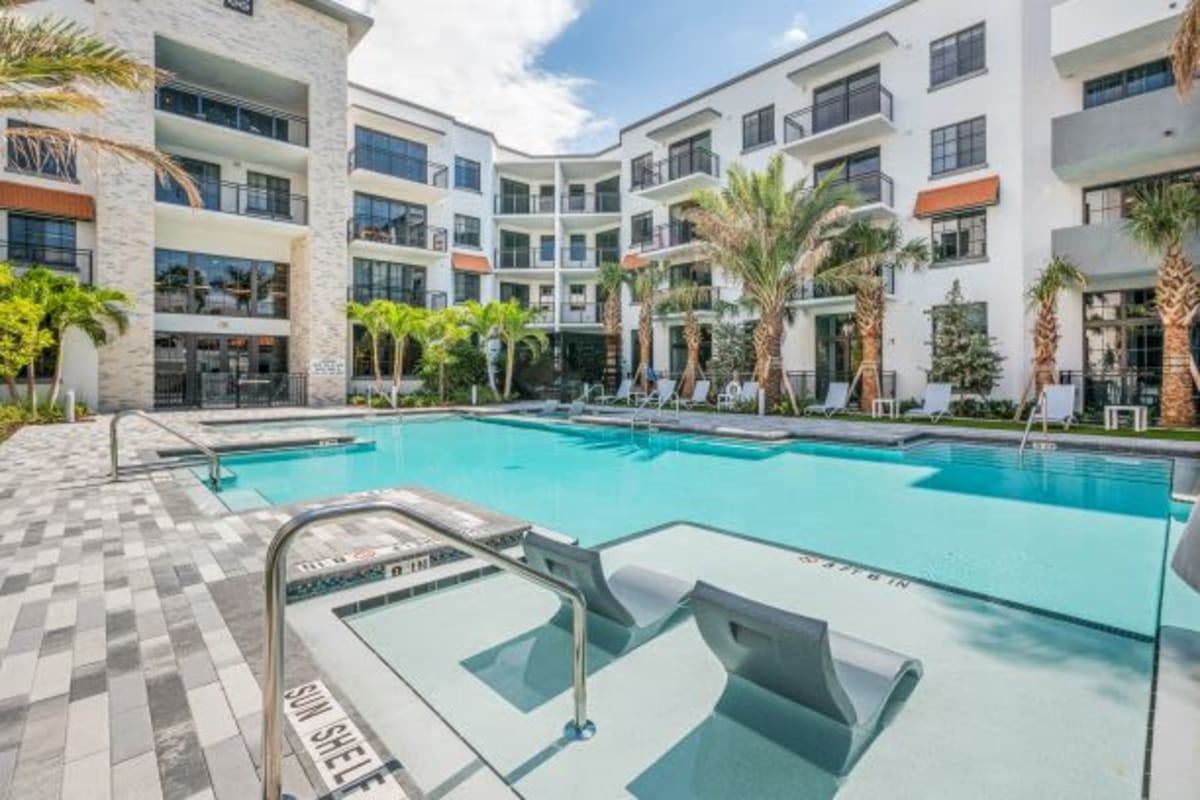 Beautiful Swimming Pool at The District Flats in West Palm Beach, Florida