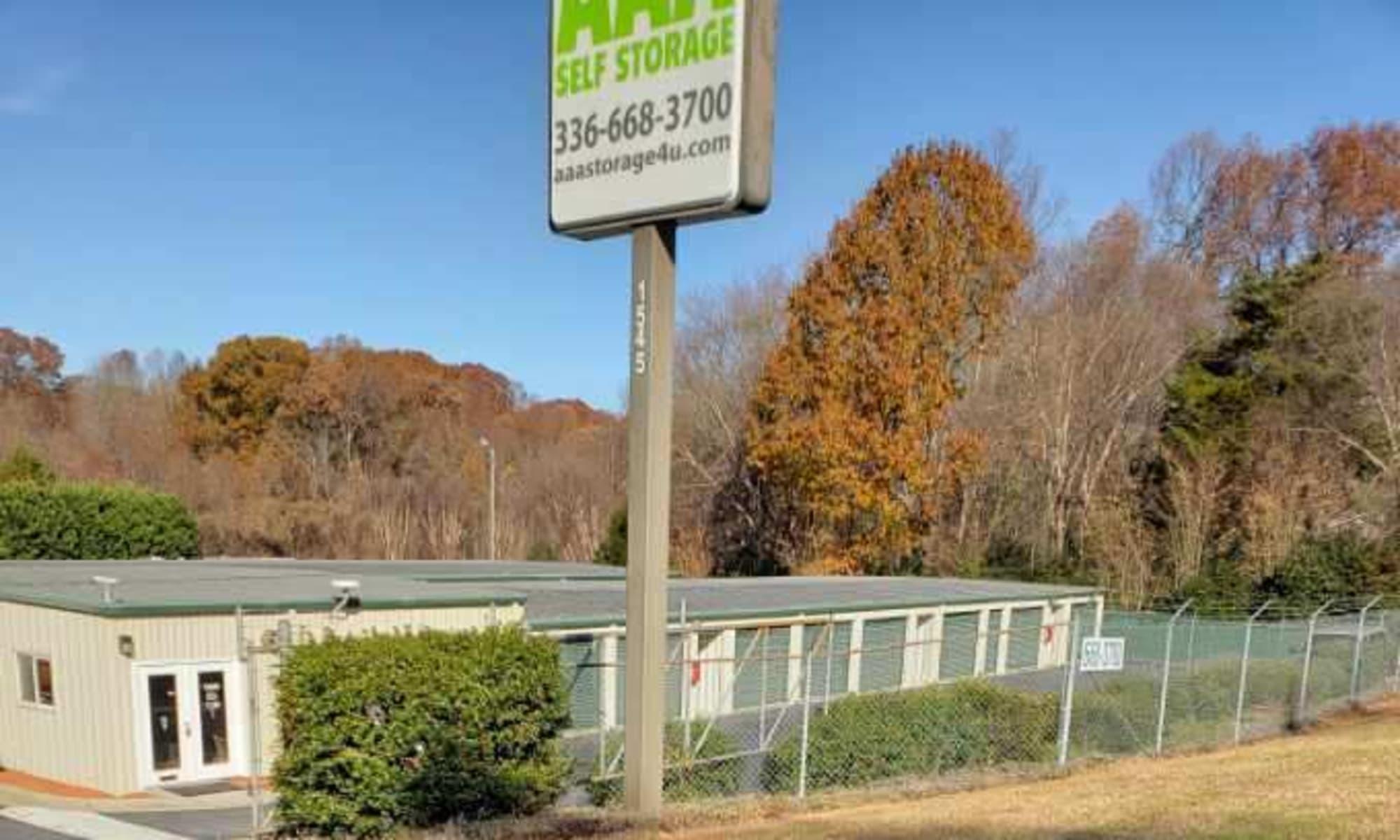 Self Storage at AAA Self Storage at Pleasant Ridge Rd in Greensboro, North Carolina.