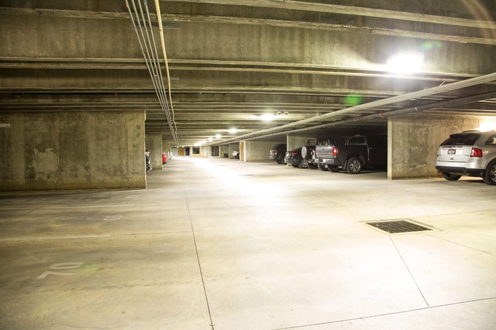 Underground parking at 644 City Station in Salt Lake City