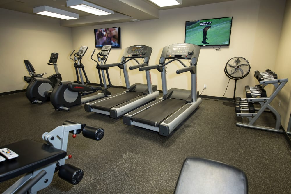 Fully equipped fitness center at 644 City Station in Salt Lake City, Utah