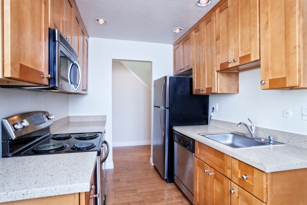 Spacious kitchen at Brookdale Apartments in San Jose, California