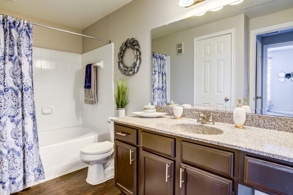 Bathroom at Signature Point Apartments in League City, Texas