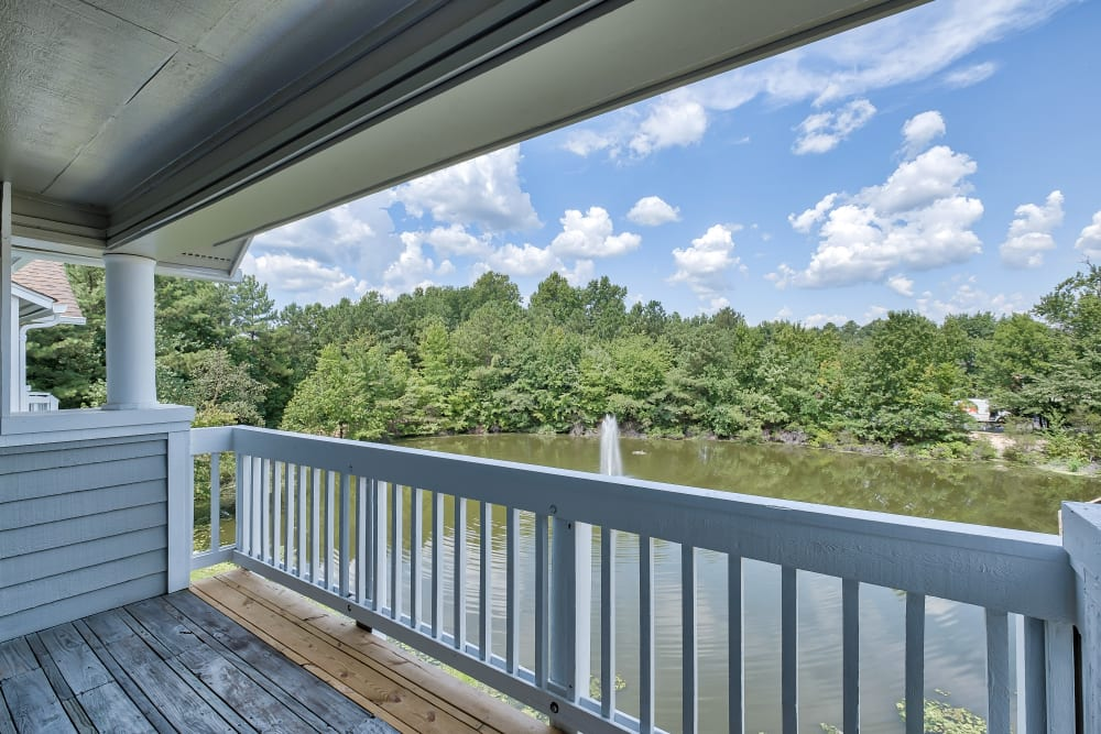 Balcony overlooking pond at Copper Mill Apartments