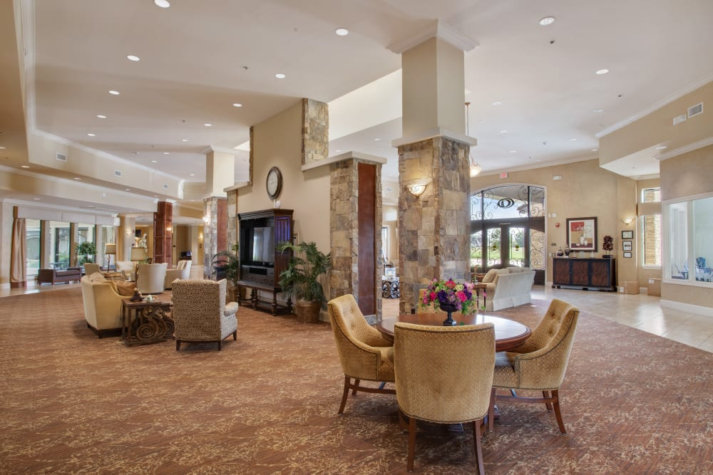 The community living room at Clayton Oaks Living in Richmond, Texas