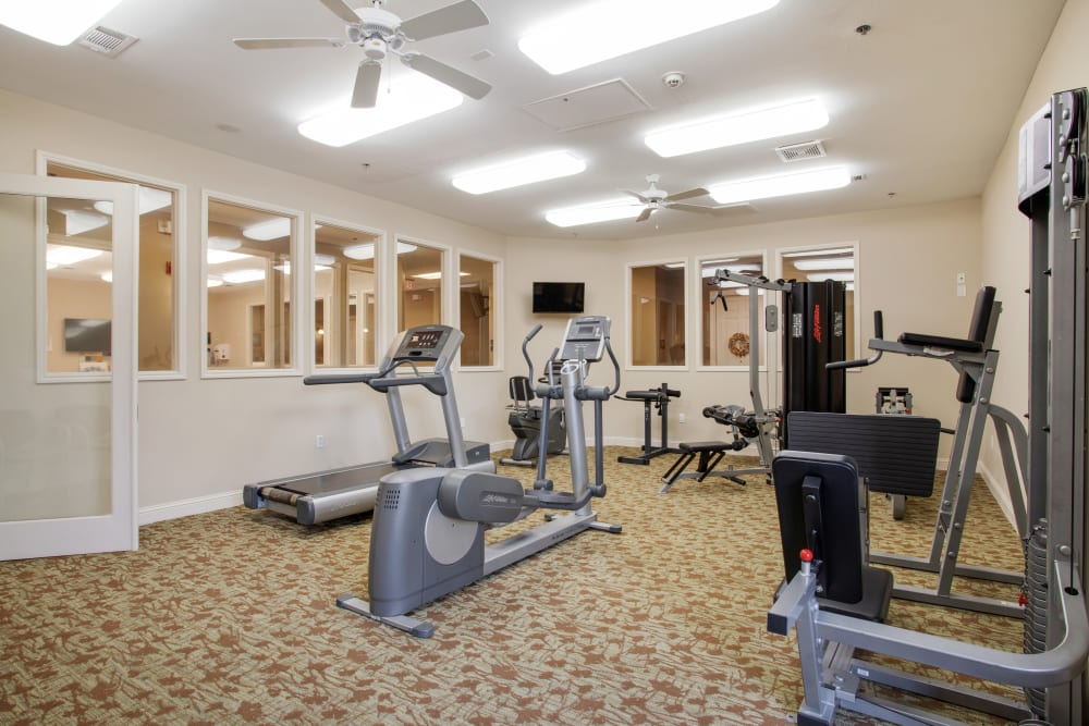 The fitness center at Clayton Oaks Living in Richmond, Texas