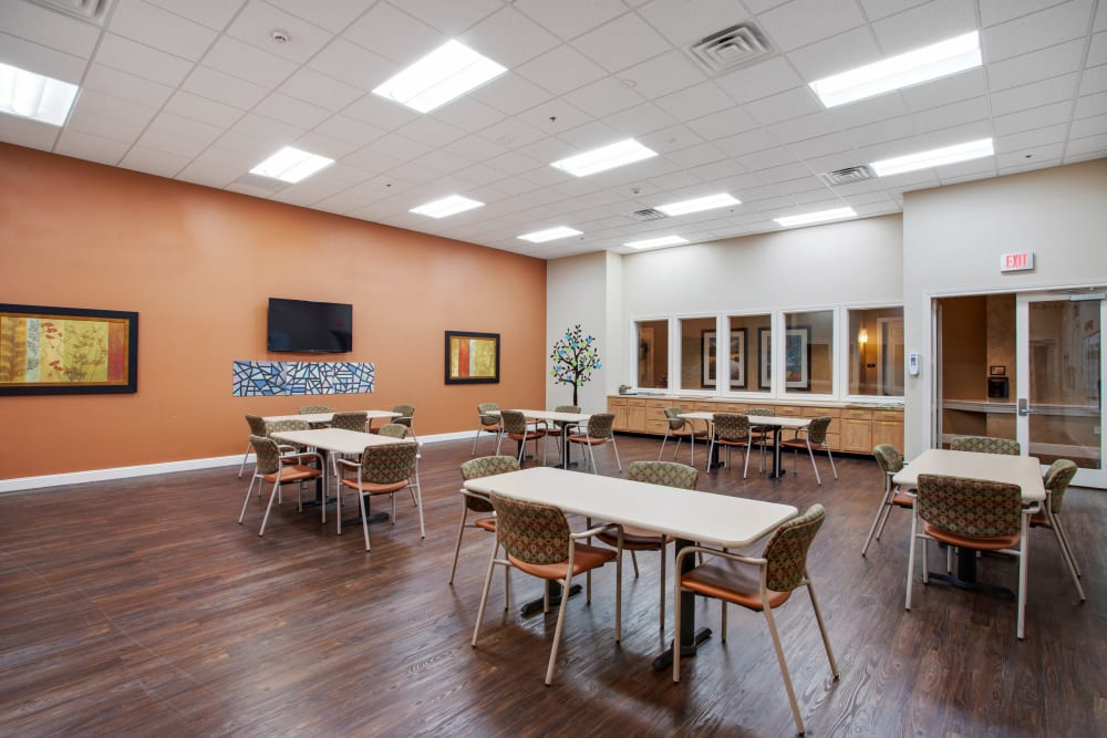 An activity room for residents at Clayton Oaks Living in Richmond, Texas