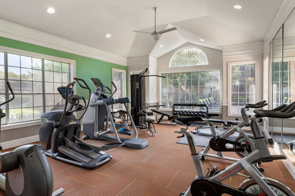 Fully equipped HarborFit fitness center at Regency at First Colony in Sugar Land, Texas