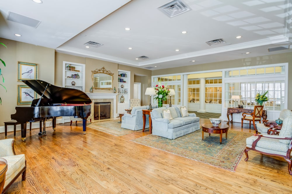 comfortable seating with a piano