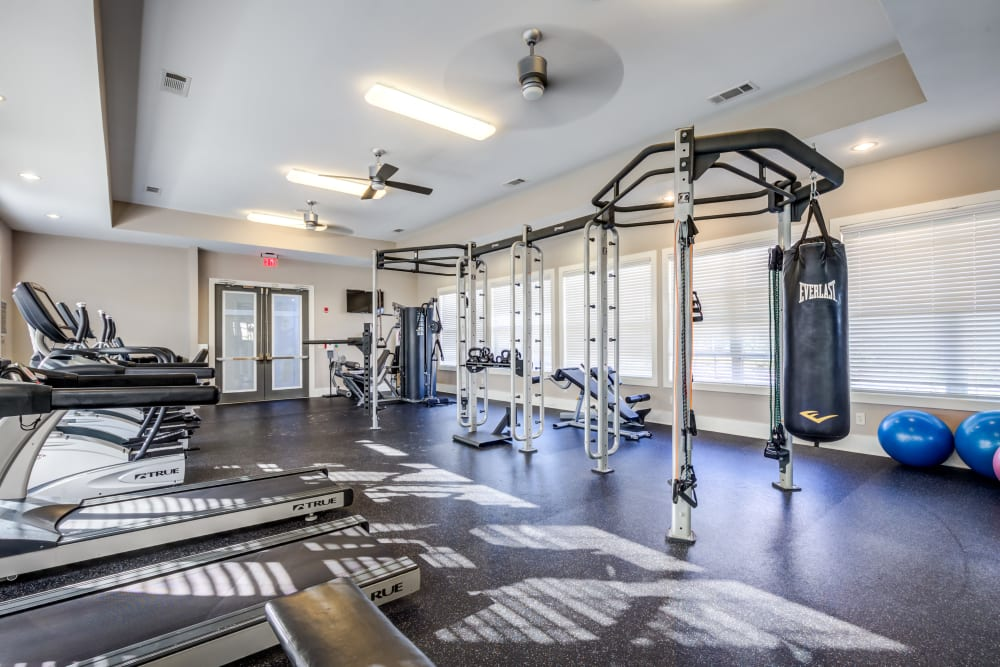 Fitness room at Ansley Commons Apartment Homes in Ladson, South Carolina
