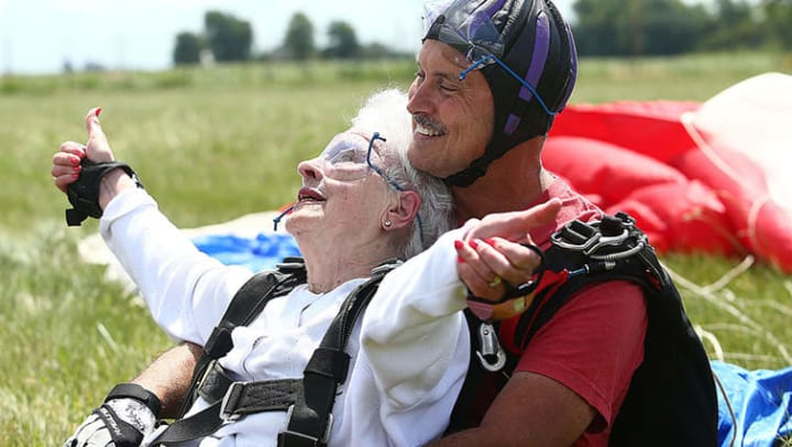Ruth with her skydiving partner