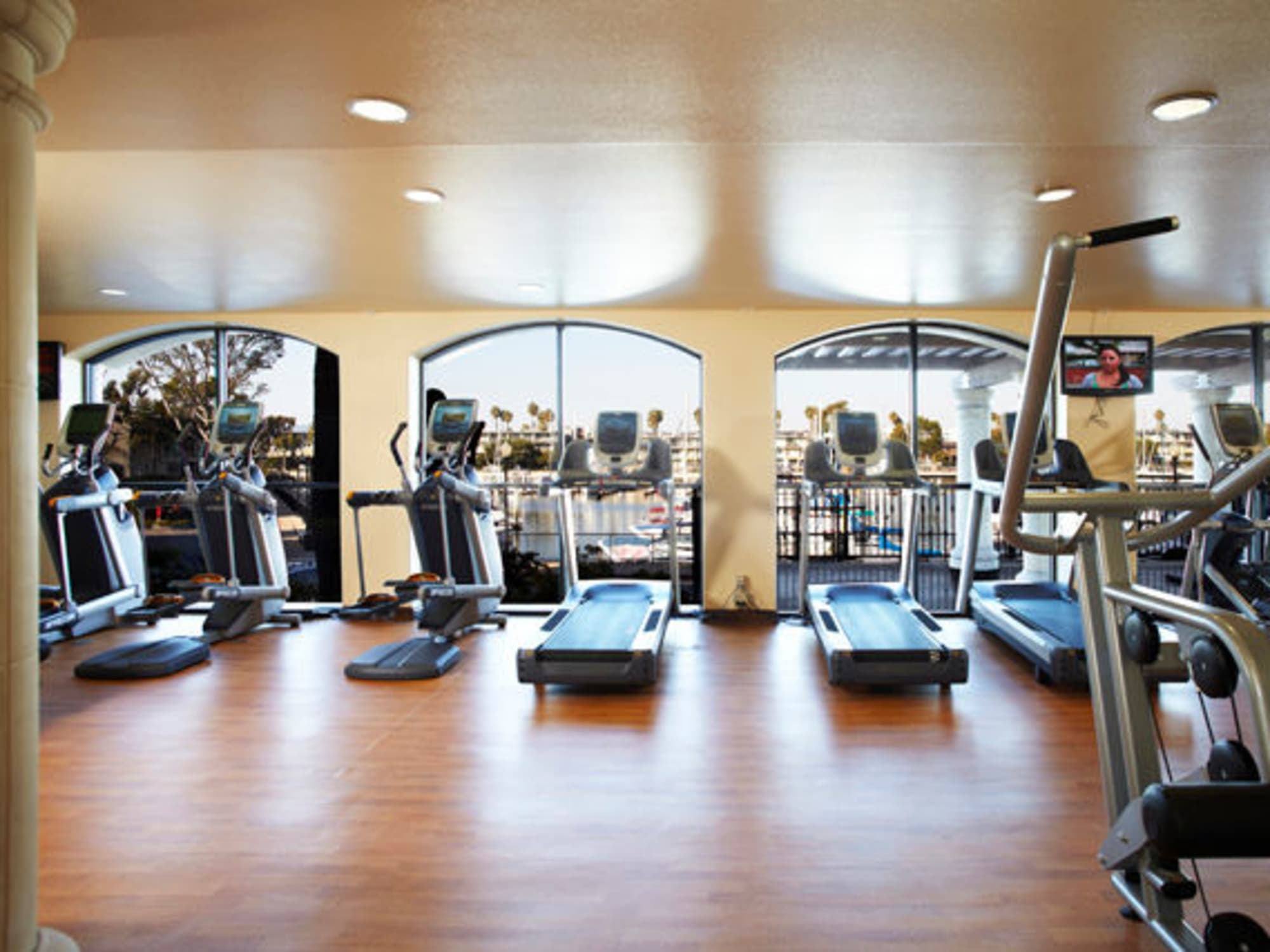 Very well-equipped fitness center at The Tides at Marina Harbor in Marina Del Rey, California