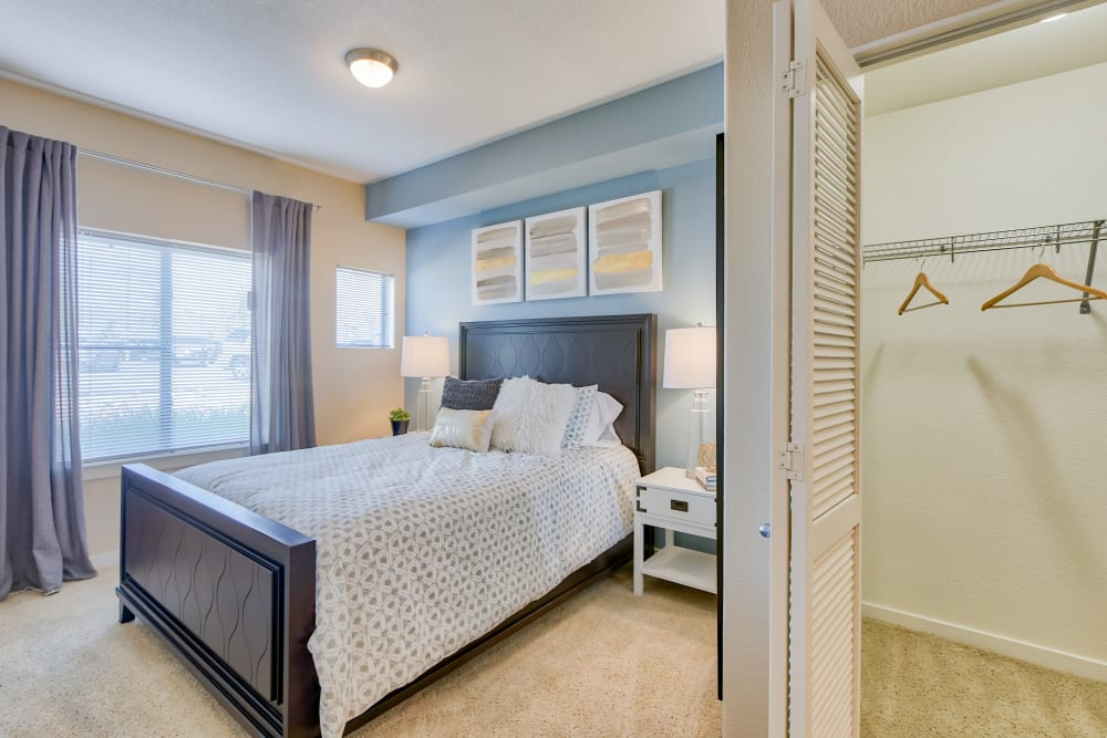 Bedroom and Closet At Downtown Belmar Apartments In Lakewood CO
