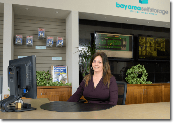 Receptionist at the front desk at Bay Area Self Storage